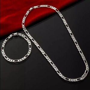 Men silver bracelet & necklace link chain